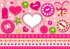 Valentine's collection for scrapbook. Royalty Free Stock Photos