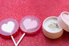 Valentine's concept with a ring Stock Photography