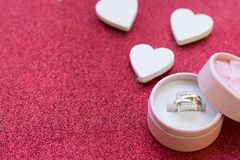 Valentine's concept with a ring Royalty Free Stock Photography