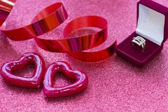 Valentine's concept with a ring Royalty Free Stock Images