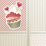 Valentine's Cupcake. Valentine's card with cupcake and hearts decorations Stock Image