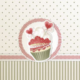 Valentine's Cupcake. Valentine's card with cupcake and hearts decorations Royalty Free Stock Photo