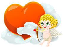 Valentine's cupid. Cupid with heart. clipping path included Royalty Free Stock Photo