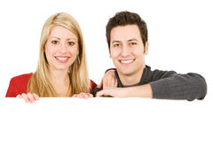 Valentine's: Cute Couple Behind White Card Stock Images