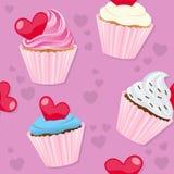 Valentine s Dag Naadloze Cupcakes Stock Foto