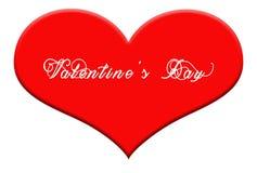 Valentine& x27; s Dag schreef op grote rode hartvorm op witte achtergrond Stock Fotografie