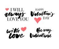 Valentine' s-dagen ställde in av symboler calligraphy också vektor för coreldrawillustration Grå färger på vit bakgrund vektor illustrationer