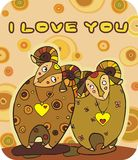 Valentine's Day 1. Two enamoured rams with beautiful horns Royalty Free Stock Photos