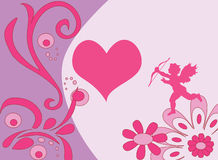 Valentine's day. Pink flowery background with heart and cupid Stock Photo