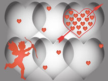 Valentine's day. Pink flowery background with heart and cupid Stock Photography