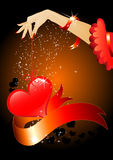 Valentine's day. Hand holding heart shape decor,banner and background vector illustration