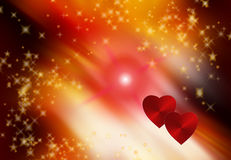 Valentine's day. Two hearts and stars, Valentine's day Stock Photos