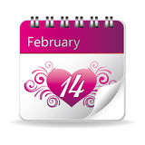 Valentine's day. Vector calendar of february 14 vector illustration