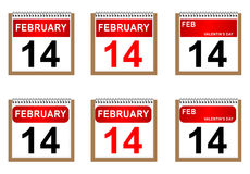 Valentine's day. Illustration of Valentine's calendar on white background Royalty Free Stock Photo