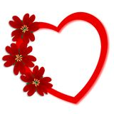Valentine's Day. Valentines Day greeting card with red flowers on heart Stock Images