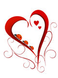 Valentine`s day. Illustration of lady beetles on a red heart Stock Images