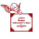 Valentine's day. Happy valentine's day card with cupid isolated over white Stock Photos