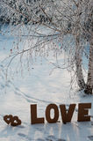 Valentine,s Day. Letters L,O,V,E made from cardboard, placin on the snow between two human trails Stock Photography