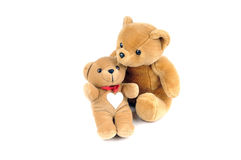 Valentine`s day. Two teddy bears, one has a patch in the shape of a heart on the chest Stock Photography