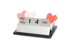 Valentine's day. Calendar made ​​of steel cubes with hearts on Valentine's day Stock Image
