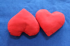 Heart-shaped pillows Stock Photo