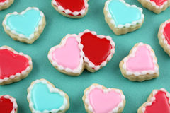 Valentine's Day. Heart cookies on a teal background Royalty Free Stock Photography
