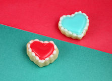 Valentine's Day. Heart cookies on a teal background Royalty Free Stock Photo
