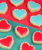 Valentine's Day. Heart cookies on a teal background Stock Photo