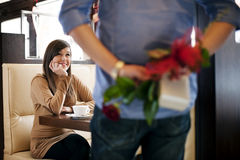 Valentine's Day. Young couple at cafe Stock Photography