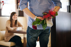 Valentine's Day. Young couple at cafe Stock Image