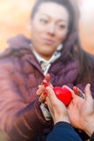 Valentine's Day. Giving and receiving love - Valentine's Day royalty free stock photos