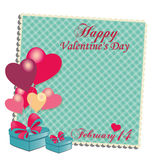 Valentine's day. A colored card with some gifts, balloons and text for valentine's day Royalty Free Stock Images