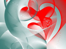Valentine's day. Two hearts interwind together, place for text, contrast- cold&hot Royalty Free Stock Photos