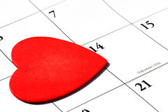 Valentine's Day. Heart on calendar royalty free stock image