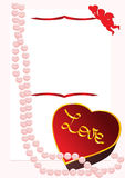 Valentine's day. Card with pink pearls, angel and gift box Stock Photo