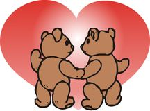 Valentine's day. Teddy bears and heart graphic illustration Royalty Free Stock Photo