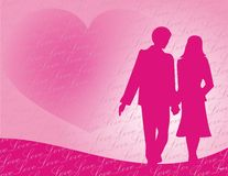 Valentine's day. Pink heart and pink couple silhouette illustartion Stock Photo