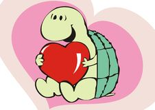 Valentine's day. Little cute tortoise with a red heart illustartion Stock Photography