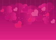 Valentine's Day. Sky with hearts pendants and clouds, elements for your design Royalty Free Stock Photography