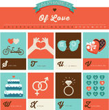 Valentine's day ABC, alphabet poster Royalty Free Stock Image