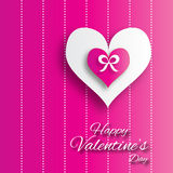 Valentine's day abstract applique background with cut paper hearts with bow ribbon . Stock Photography