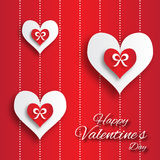 Valentine's day abstract applique background with cut paper hearts with bow ribbon . Royalty Free Stock Photography