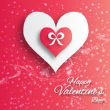 Valentine's day abstract applique background with cut paper hearts with bow ribbon . Stock Image