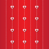 Valentine's day abstract applique background with cut red and white paper hearts. Stock Photo