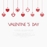 Valentine`s Day abstract background with bows hanging. Stock Image