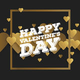 Valentine`s day abstract background with cut paper golden heart. Vector illustration.  Royalty Free Stock Photo