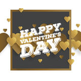 Valentine`s day abstract background with cut paper golden heart. Vector illustration.  Royalty Free Stock Images