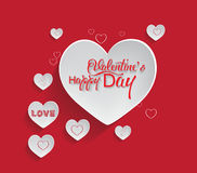 Valentine's day abstract background with cut paper heart.  Stock Image
