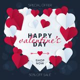 Valentine's day abstract background with cut paper heart on dark. Bakground Stock Image