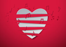 Valentine's Day Abstract Background with Cut Paper Heart and Mus. Ic Notes, Vector Illustration Stock Photo
